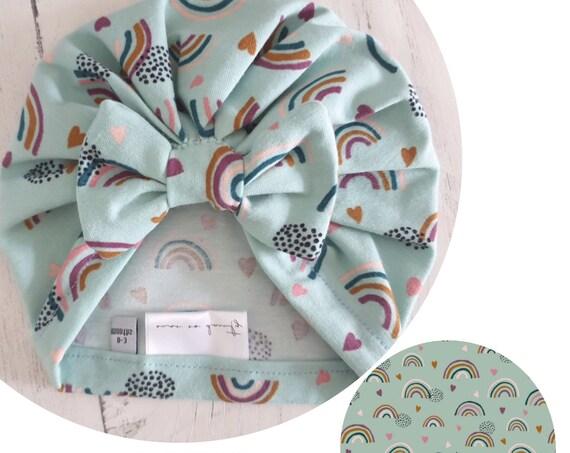 Baby Turban / Baby Hat / Girls Turbans / Kids Turbans - Mint Rainbows Organic Fabric - choose your style - Baby Shower Gift - Newborn Gift