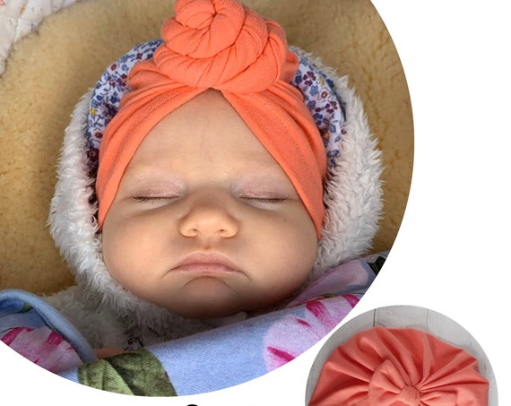 Baby Turban / Baby Hat / Girls Turbans / Kids Turbans - Peach Orange - choose your style - Baby Shower Gift - Newborn Gift