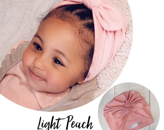 Baby Turban / Baby Hat / Girls Turbans / Kids Turbans - Light Peach - choose your style - Baby Shower Gift - Newborn Gift
