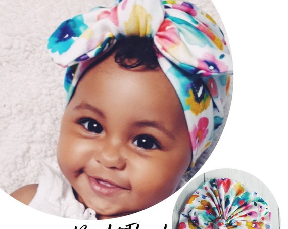 Baby Turban / Baby Hat / Girls Turbans / Kids Turbans - White Bright Coloured Flowers - choose your style - Baby Shower Gift - Newborn Gift