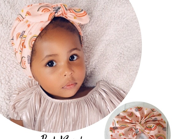 Baby Turban / Baby Hat / Girls Turbans / Kids Turbans - Pink Rainbows Organic Fabric - choose your style - Baby Shower Gift - Newborn Gift