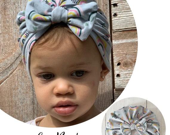 Baby Turban / Baby Hat / Girls Turbans / Kids Turbans - Grey Rainbows Organic Fabric - choose your style - Baby Shower Gift - Newborn Gift
