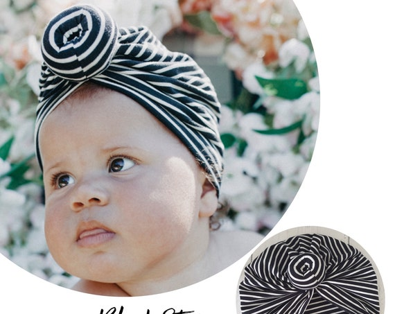 Baby Turban / Baby Hat / Girls Turbans / Kids Turbans - Black And White - choose your style - Baby Shower Gift - Newborn Gift