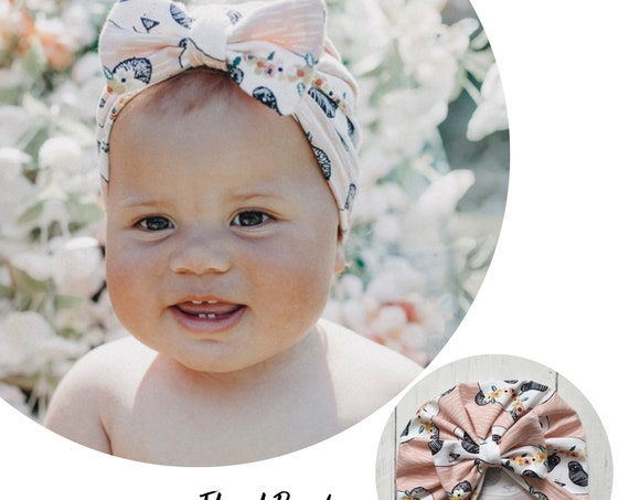 Baby Turban / Baby Hat / Girls Turbans / Kids Turbans - Floral Pink Panda Print - choose your style - Baby Shower Gift - Newborn Gift