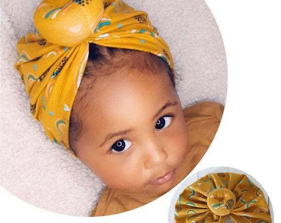 Baby Turban / Baby Hat / Girls Turbans / Kids Turbans - Mustard Rainbow Organic Fabric - choose your style - Baby Shower Gift - Newborn Gift