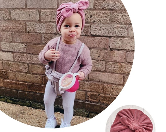 Baby Turban / Baby Hat / Girls Turbans / Kids Turbans - Rose Pink Corduroy  - choose your style - Baby Shower Gift - Newborn Gift