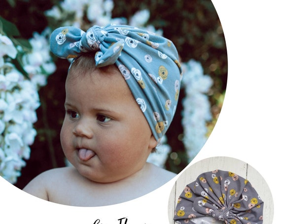 Baby Turban / Baby Hat / Girls Turbans / Kids Turbans - Grey Flowers Floral - choose your style - Baby Shower Gift - Newborn Gift