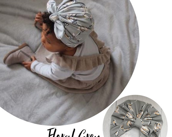 Baby Turban / Baby Hat / Girls Turbans / Kids Turbans - Floral Flowers Grey - choose your style - Baby Shower Gift - Newborn Gift