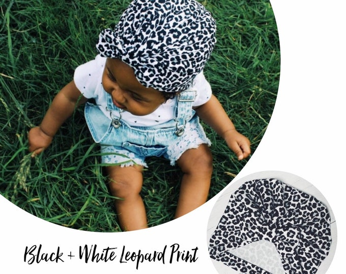 Featured listing image: Black and White Leopard Print Baby Turban - choose your style