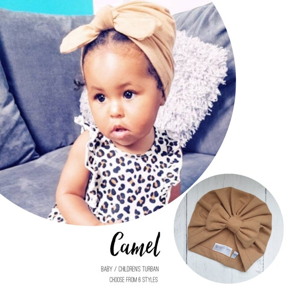 Baby Turban / Baby Hat / Girls Turbans / Kids Turbans - Camel Sand - choose your style - Baby Shower Gift - Newborn Gift