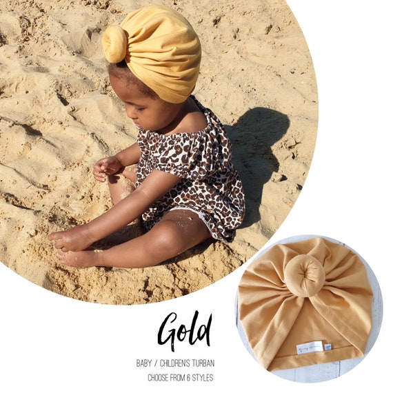 Baby Turban / Baby Hat / Girls Turbans / Kids Turbans - Gold Yellow - choose your style - Baby Shower Gift - Newborn Gift