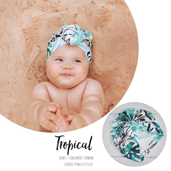 Baby Turban / Baby Hat / Girls Turbans / Kids Turbans - Tropical Green Palm Holiday - choose your style - Baby Shower Gift - Newborn Gift