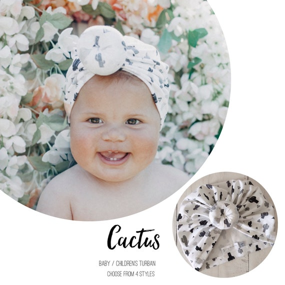 Baby Turban / Baby Hat / Girls Turbans / Kids Turbans - White and Black Cactus - choose your style - Baby Shower Gift - Newborn Gift