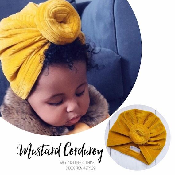 Baby Turban / Baby Hat / Girls Turbans / Kids Turbans - Mustard Sunshine Yellow - choose your style - Baby Shower Gift - Newborn Gift