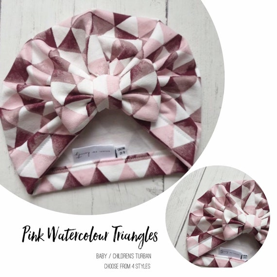Baby Turban / Baby Hat / Girls Turbans / Kids Turbans - Pink Watercolour Triangles - choose your style - Baby Shower Gift - Newborn Gift