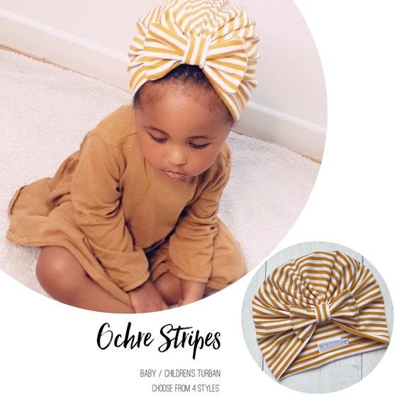 Baby Turban / Baby Hat / Girls Turbans / Kids Turbans - Ochre Yellow Mustard Stripes - choose your style - Baby Shower Gift - Newborn Gift