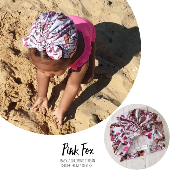 Baby Turban / Baby Hat / Girls Turbans / Kids Turbans - Pink and Grey Fox - choose your style - Baby Shower Gift - Newborn Gift