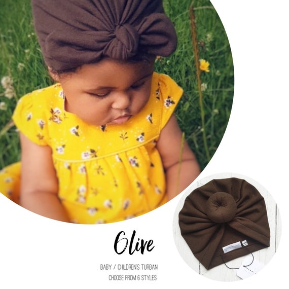 Baby Turban / Baby Hat / Girls Turbans / Kids Turbans - Olive Khaki Green - choose your style - Baby Shower Gift - Newborn Gift