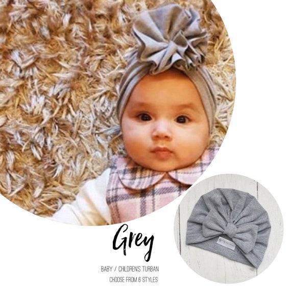 Baby Turban / Baby Hat / Girls Turbans / Kids Turbans - Grey / Gray - choose your style - Baby Shower Gift - Newborn Gift