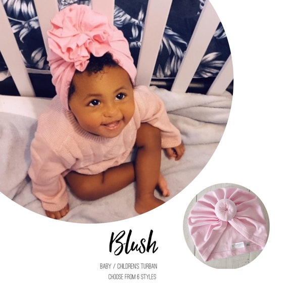 Baby Turban / Baby Hat / Girls Turbans / Kids Turbans - Blush Pink Baby Pink  - choose your style - Baby Shower Gift - Newborn Gift