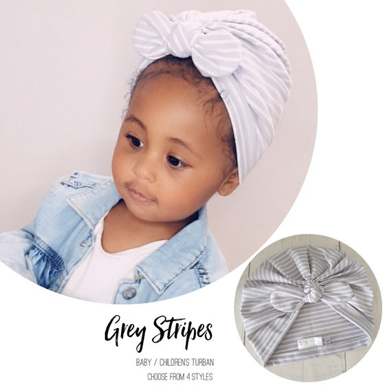Baby Turban / Baby Hat / Girls Turbans / Kids Turbans - Grey And White Stripes - choose your style - Baby Shower Gift - Newborn Gift