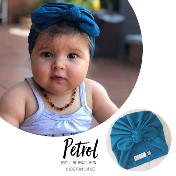Baby Turban / Baby Hat / Girls Turbans / Kids Turbans - Petrol Peacock Blue / Fabric - choose your style - Baby Shower Gift - Newborn Gift