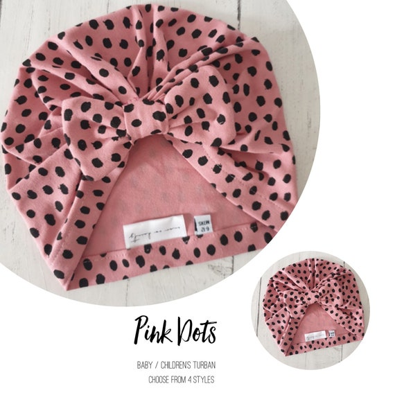 Baby Turban / Baby Hat / Girls Turbans / Kids Turbans - Pink Dots Organic Fabric - choose your style - Baby Shower Gift - Newborn Gift