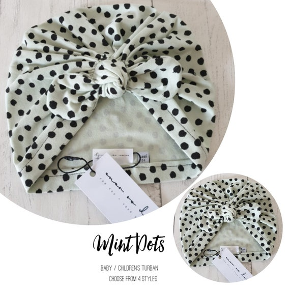Baby Turban / Baby Hat / Girls Turbans / Kids Turbans - Mint Green Dots Organic Fabric - choose your style - Baby Shower Gift - Newborn Gift