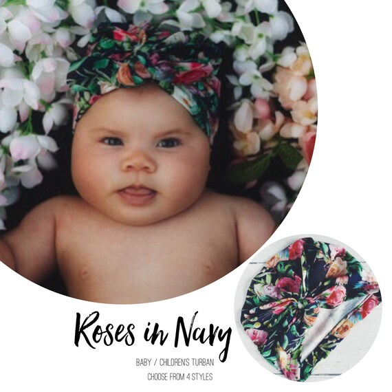 Baby Turban / Baby Hat / Girls Turbans / Kids Turbans - Roses Flowers In Navy Blue choose your style - Baby Shower Gift - Newborn Gift