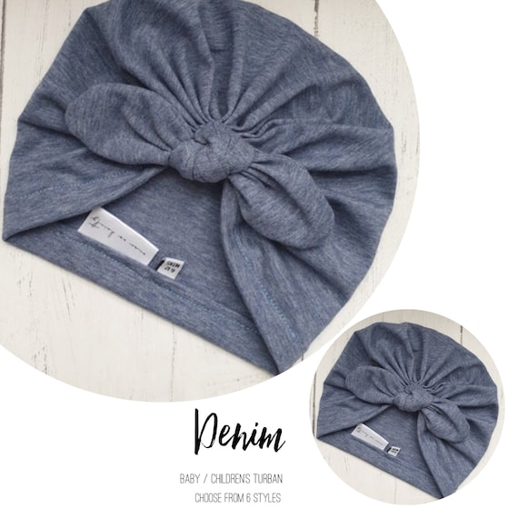 Baby Turban / Baby Hat / Girls Turbans / Kids Turbans - Denim Blue - choose your style - Baby Shower Gift - Newborn Gift