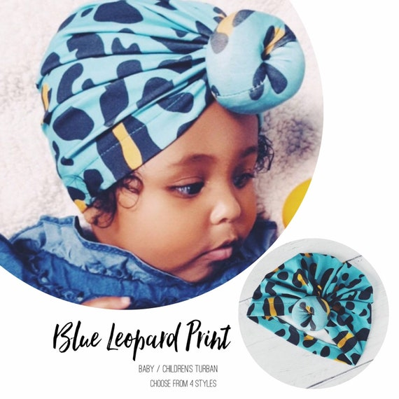 Baby Turban / Baby Hat / Girls Turbans / Kids Turbans - Blue Yellow Leopard Print - choose your style - Baby Shower Gift - Newborn Gift
