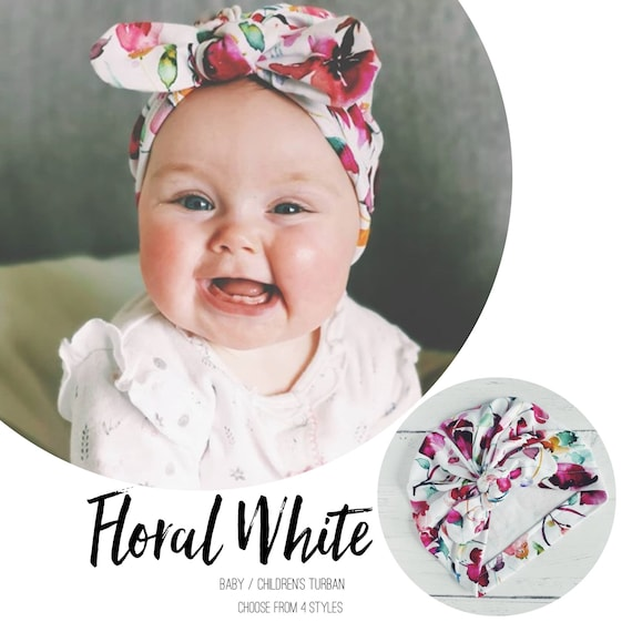Baby Turban / Baby Hat / Girls Turbans / Kids Turbans - Floral Flowers White Pink - choose your style - Baby Shower Gift - Newborn Gift