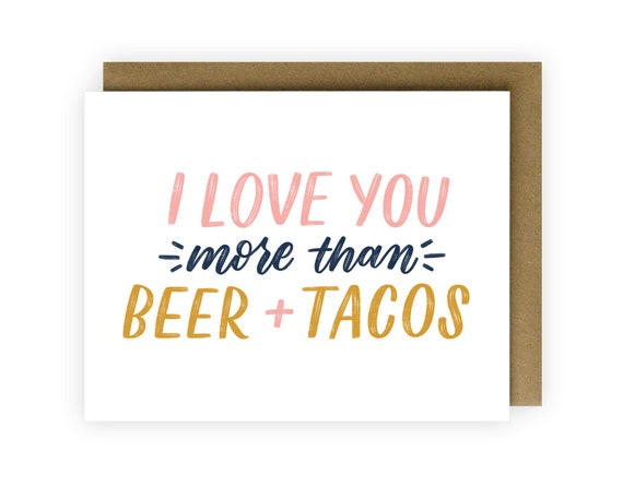 46180e22d Funny Love Greeting Card Anniversary Card Foodie Gift Taco | Etsy