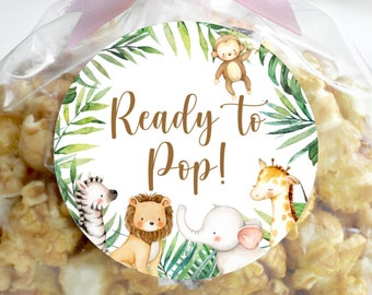Safari Theme Ready To Pop Favor Toppers Ready To POP Safari Labels Printable Stickers Baby Shower Favor Baby Shower Gift Tag Printable