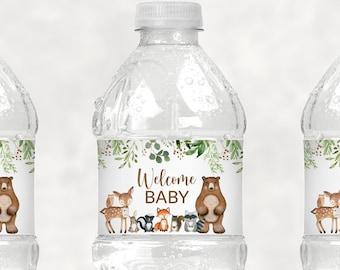 Woodland Baby Shower Water Bottle Labels Greenery Woodland Animals Forest Baby Shower Bottle Wrappers Printable Instant Download C1