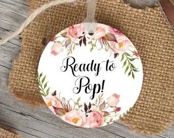 Boho Ready To Pop Stickers Printable Tags Pink Floral Baby Shower Favors Labels Popcorn Instant Download C24