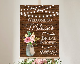 Bridal Shower Welcome Sign Welcome Poster Wood Mason Jar Floral String Lights Rustic Wedding Shower Decor Personalized Printable Sign