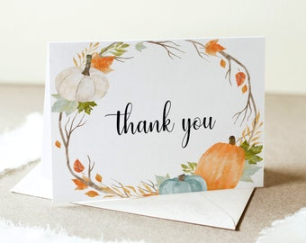 Fall Thank You Card Etsy