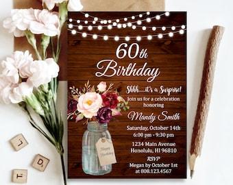 Surprise 60th Birthday Invitation For Women Pink Floral Mason Jar Rustic Lights Custom Invite Digital File A48