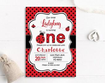 Ladybug Birthday Invitation Little Girl 1st Customize Printable Invite Digital File A63