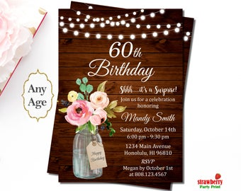 60th birthday invitations for women surprise 60th birthday invitation floral birthday invitation rustic birthday invitation wooden a69