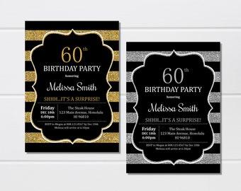 60th Birthday Invitation Surprise Black White Gold Silver Any Age Custom Printable Invite Digital File A22