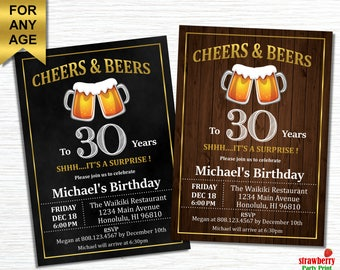 30th birthday invitation for him cheers and beers to 30 etsy