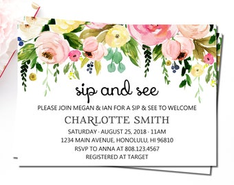 Meet greet invite etsy sip and see invitation meet and greet baby invitations spring floral baby shower invitation hello baby invitation welcome baby c37 m4hsunfo