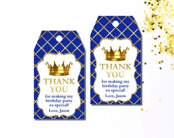 Royal Prince Baby Shower Party Favor Tags Crown Gift Tags 10ct