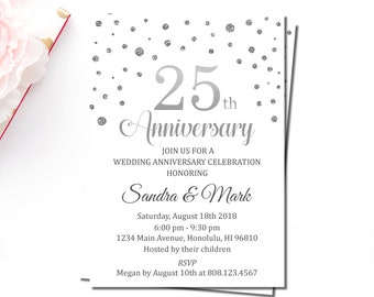 25th Wedding Anniversary Invitation Printable, Silver Anniversary, 25 years of love, W6