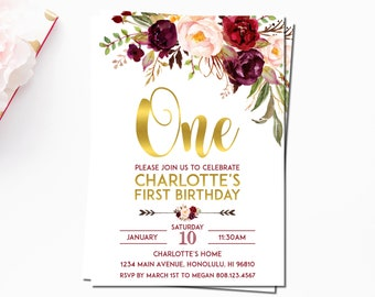 Custom invitations etsy burgundy floral first birthday invitation marsala maroon blush pink gold birthday invitation custom invitation a68 stopboris Image collections