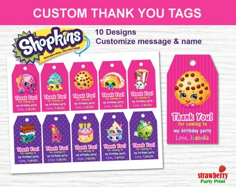 Shopkins Favor Tags Thank You Party Favors Printables Gift Birthday Decorations