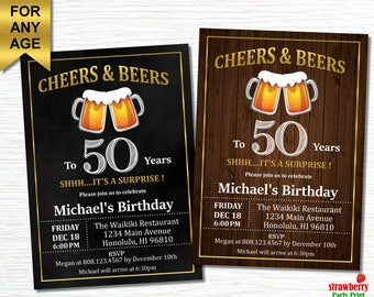 50th Birthday Invitation For Men Cheers And Beers To 50 Years Beer Surprise Adult Invitations A21