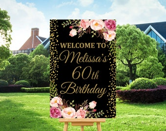 Birthday Welcome Sign Poster Printable Black Gold Pink Floral Women Decorations Custom Digital File A36 A37